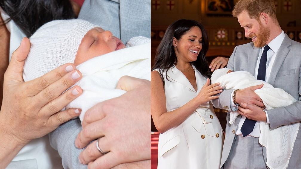 Foi a estreia do bebê real com a imprensa — Foto: Dominic Lipinski/Pool via Reuters