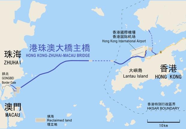 Mapa mostrando a extensão da ponte entre Hong Kong e Macau (Foto: Wikimedia Commons)