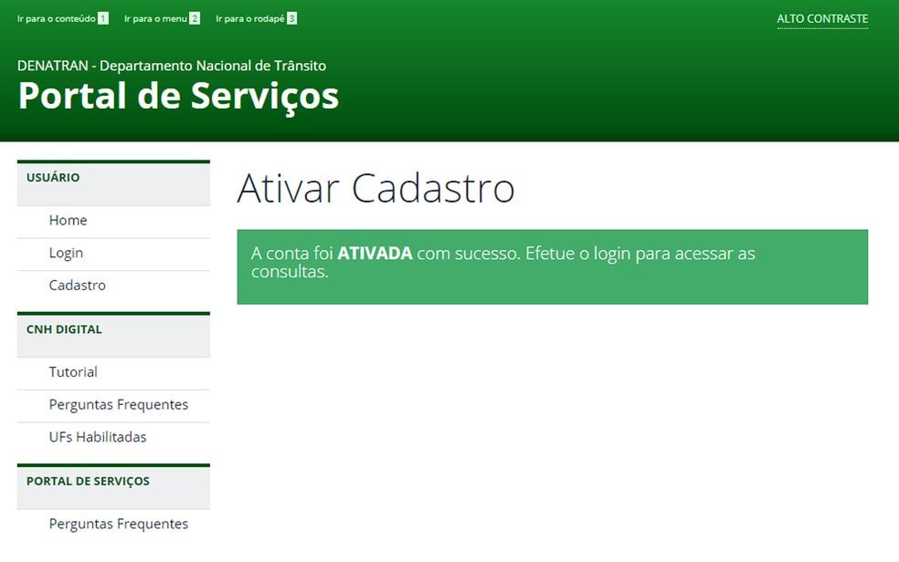 CNH digital: usuário precisa autenticar cadastro no Denatran por meio de link enviado por email (Foto: Reprodução)