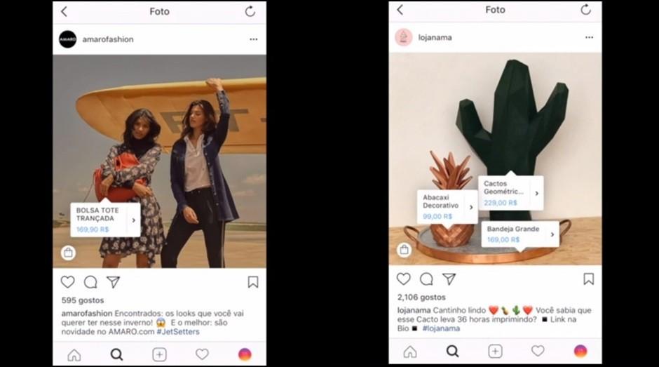 Os perfis da Amaro e da Nama foram escolhidos para os testes do Instagram Shopping (Foto: Reprodução / Instagram)