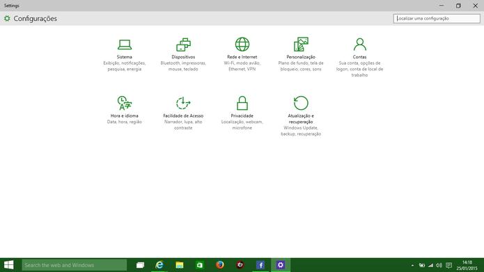 Windows 10 traz um aplicativo de configurações único e bastante limpo (Foto: Reprodução/Elson de Souza)