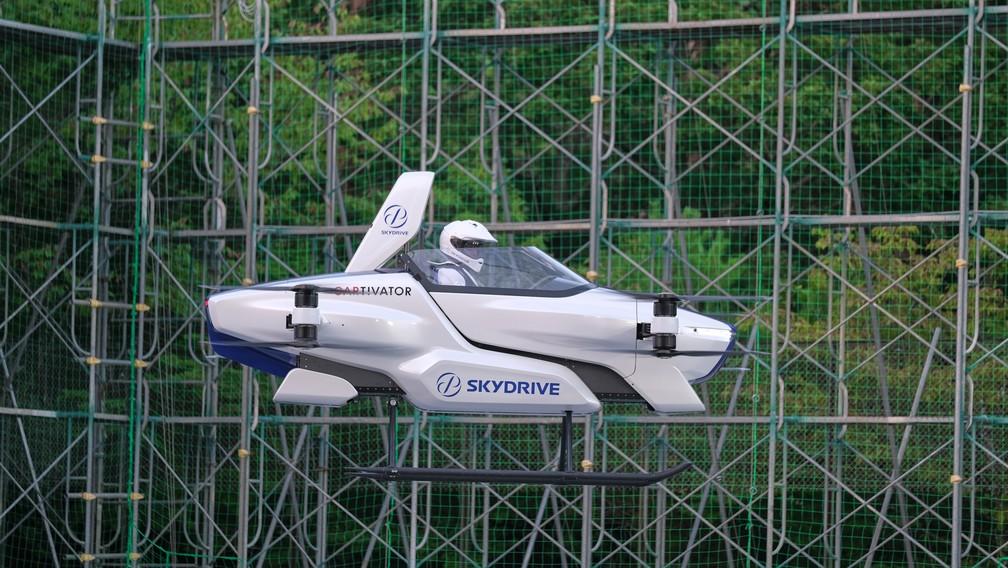 Skydrive SD-03 faz voo de teste em Toyota, no Japão — Foto: SkyDrive/CARTIVATOR 2020/via Reuters