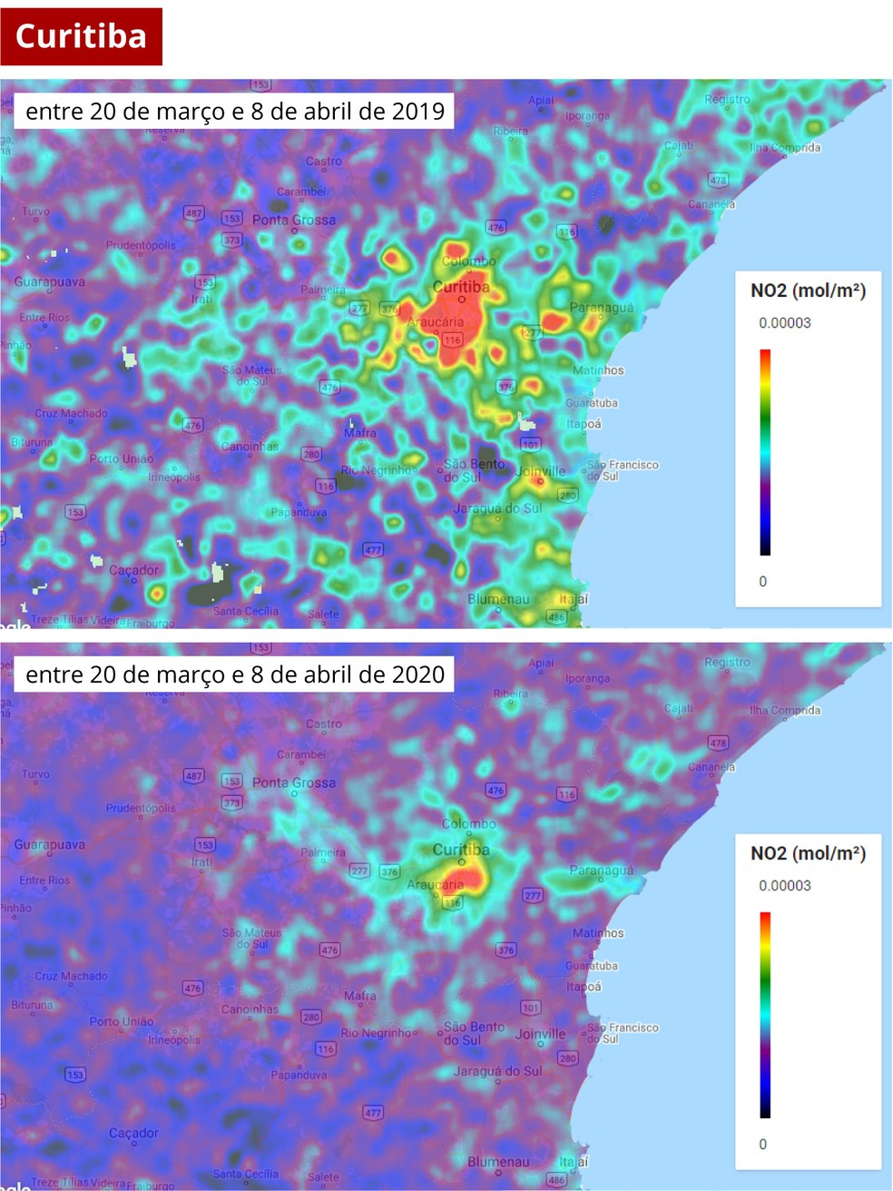 Mapa mostra poluentes em Curitiba em 2019 e 2020, quando houve redução do trânsito por causa da Covid-19 — Foto: Diego Hemkemeier Silva/Divulgação/ Via G1