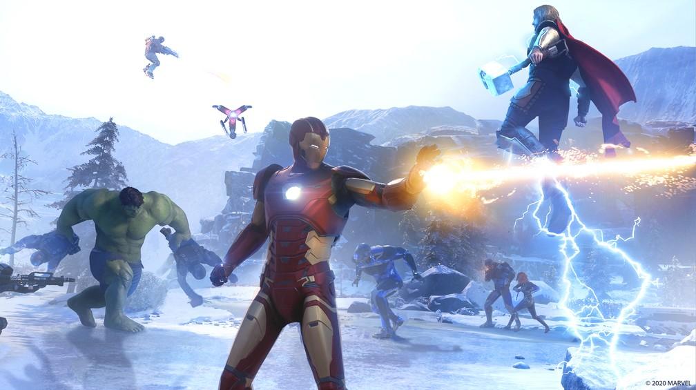 Vingadores enfrentam a AIM em 'Marvel's Avengers' — Foto: Divulgação