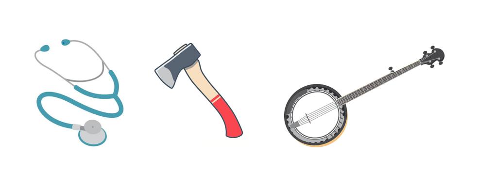 Estetoscópio, machado e banjo estão entre emojis sugeridos (Foto: Divulgação/Unicode)