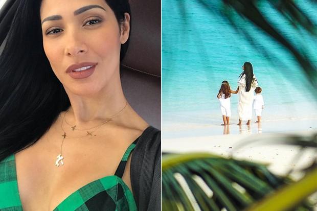 Simaria Mendes nas Maldivas com os filhos (Foto: Reprodução/Instagram)