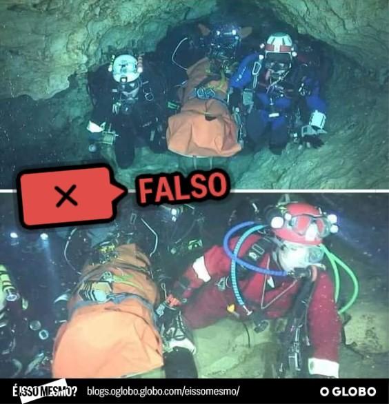 Imagens que estão sendo compartilhadas como sendo de resgate de meninos presos em caverna foram feitas em 2010 e não têm relação com o caso