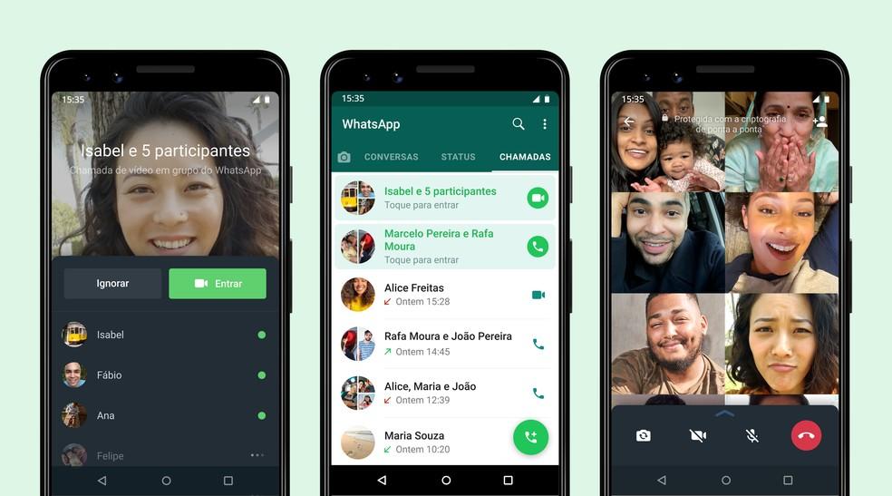 WhatsApp agora vai permitir que usuários entrem em chamada de grupo a qualquer momento — Foto: Divulgação / WhatsApp