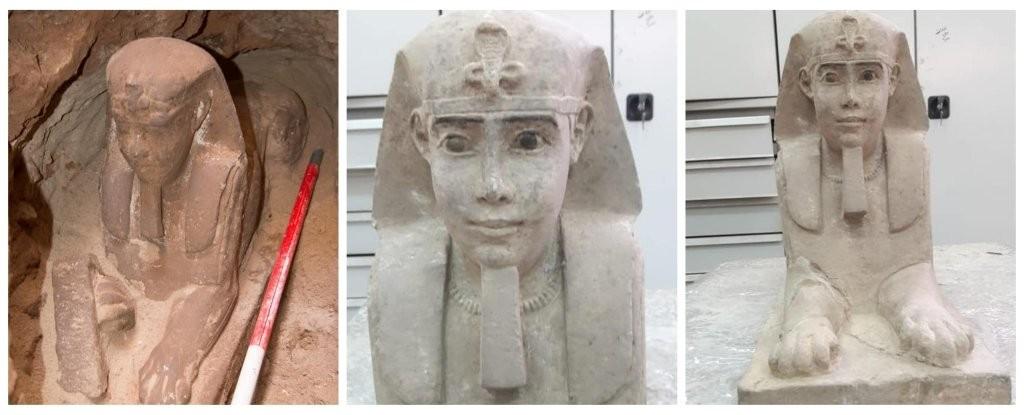 Estátua de esfinge estava bem preservada (Foto: Egyptian Ministry of Antiquities)
