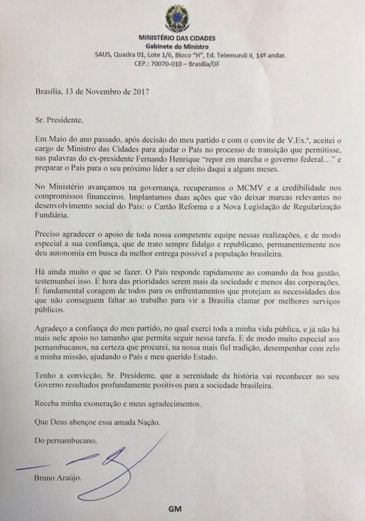 Ministro Bruno Araújo encaminha carta de demissão a Temer em meio ao racha no PSDB
