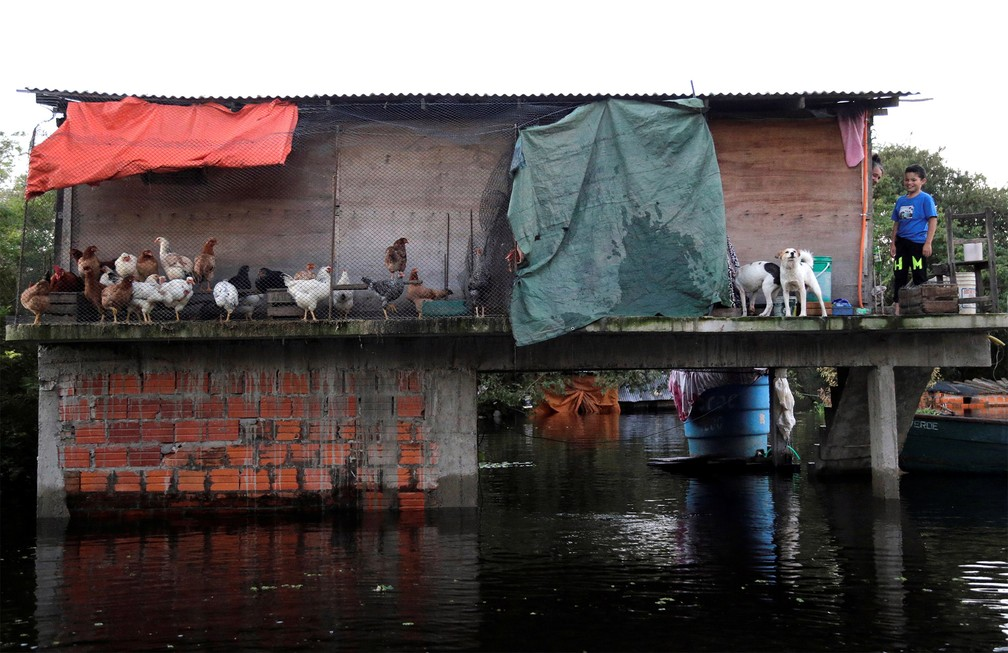 27 de maio - Casa ficou parcialmente submersa após enchente do rio Paraguai devido às fortes chuvas em um bairro de Assunção, capital paraguaia — Foto: Jorge Adorno/Reuters
