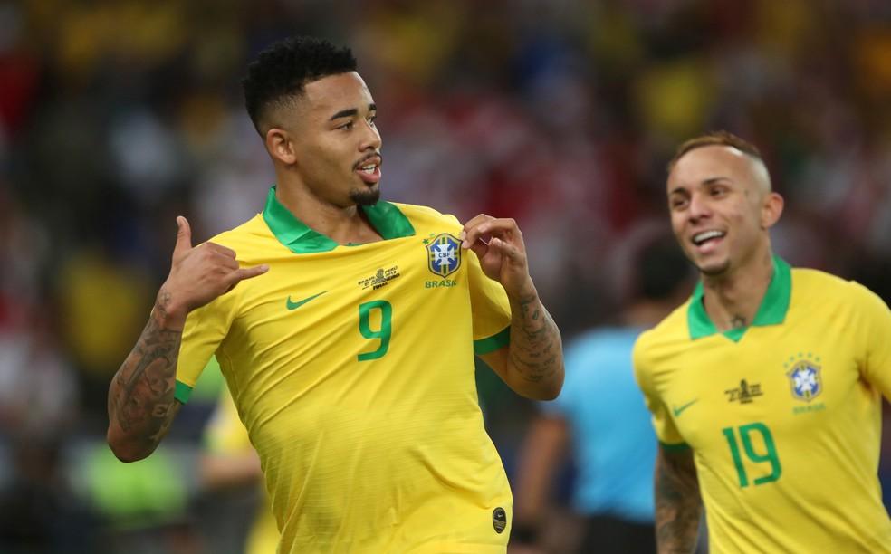 Gabriel Jesus e Everton viraram titulares ao longo da Copa América, e fizeram gols na final — Foto: Ricardo Moraes/Reuters