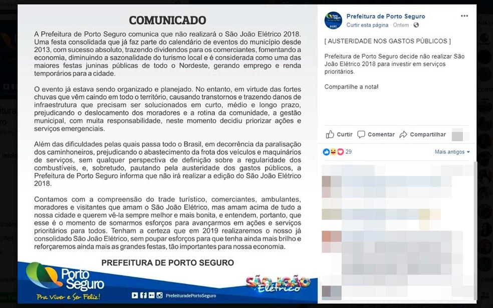 Prefeitura divulgou nota informando cancelamento da festa (Foto: Reprodução/Facebook)