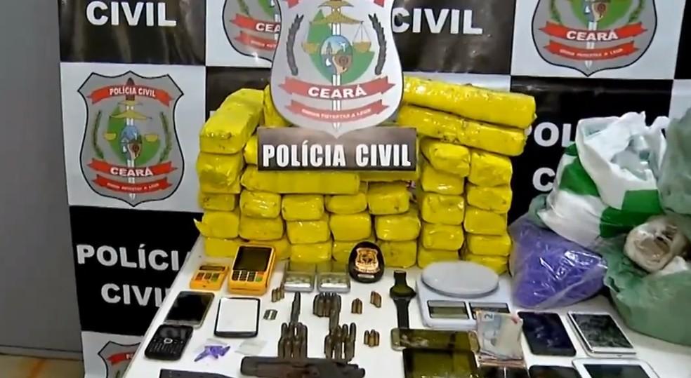 Quase 60 kg de drogas foram apreendidos pela polícia em Fortaleza nesta terça-feira (2). — Foto: Reprodução/TV Verdes Mares