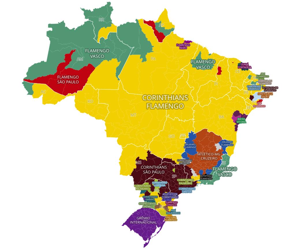 Mapa das curtidas mostra os clubes protagonistas em cada região do Brasil (Foto: Reprodução)