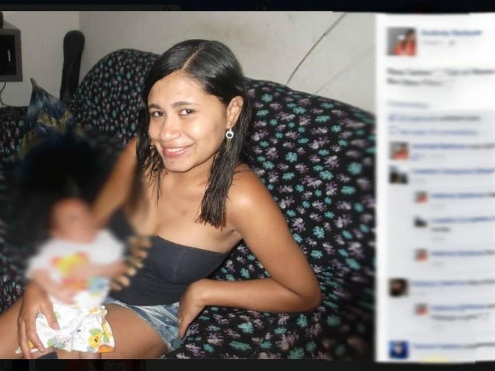 Andrea Barbosa foi morta pelo companheiro quando estava com filho no colo — Foto: Reprodução/Facebook