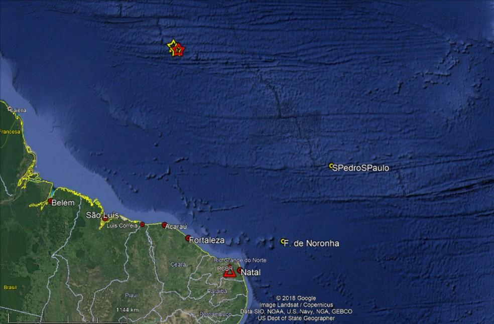 Tremores foram registrados próximo ao litoral do Nordeste e Norte do Brasil — Foto: Reprodução