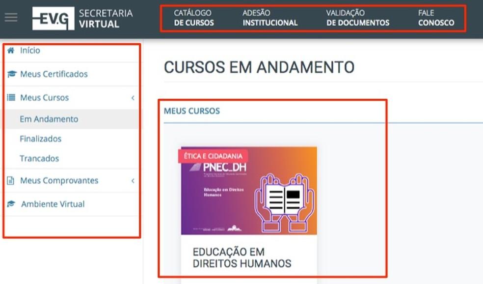 Página inicial com cursos do usuário no site Escola Virtual do Governo Federal — Foto: Reprodução/Marvin Costa