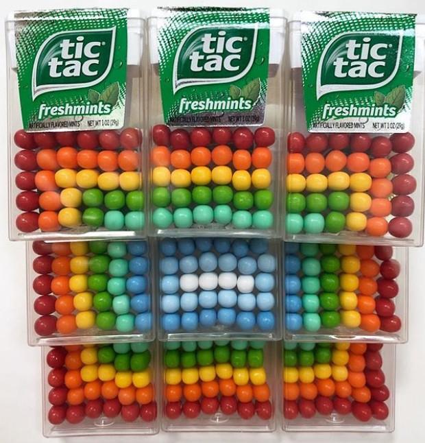 O artista organizou as pastilhas de Tic Tac por cores (Foto: Instagram/ Reprodução)