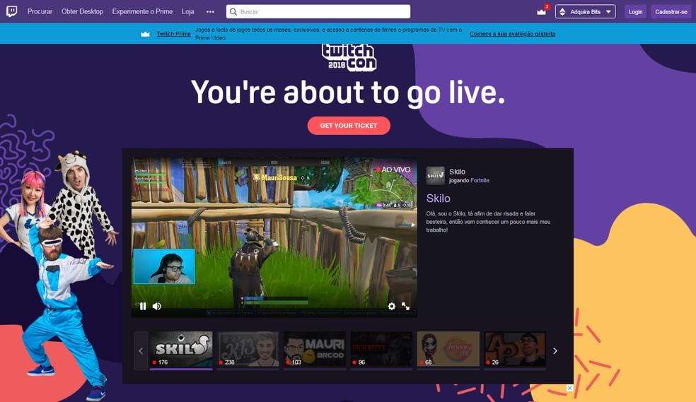 Twitch oferece uma interface para usuários logados e outra para não-logados (que é mais simplificada) — Foto: Reprodução/Bruna Telles