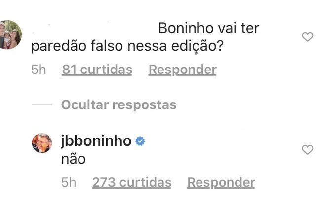 Resposta de Boninho a seguidor nas redes sociais (Foto: reprodução/ Instagram)