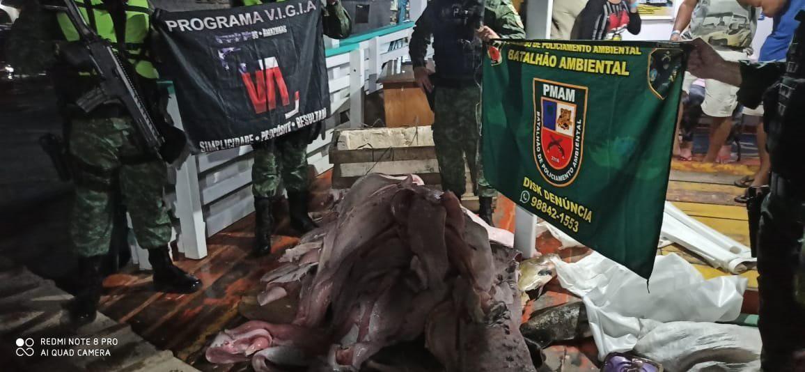 Carga ilegal de pescado e carne de animais silvestres são apreendidas dentro de embarcação no Porto de Manaus