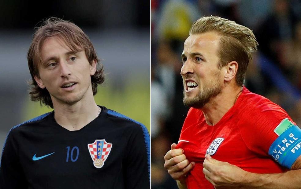 Harry Kane, da Inglaterra, e Modric, da Croácia (Foto: John Sibley e Henry Romero / Reuters)
