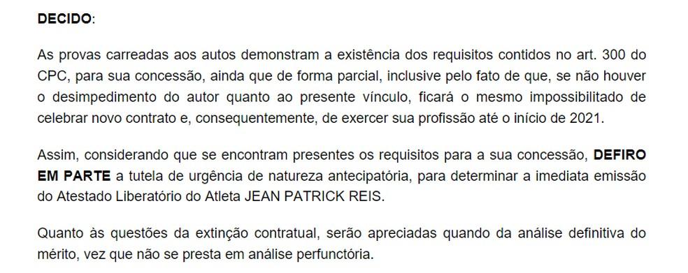 Decisão judicial sobre Jean Patrick — Foto: Reprodução