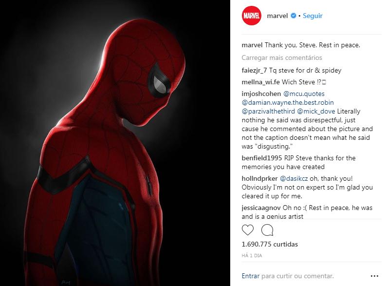 Post da Marvel lamentando morte de desenhista (Foto: Reprodução/Instagram)