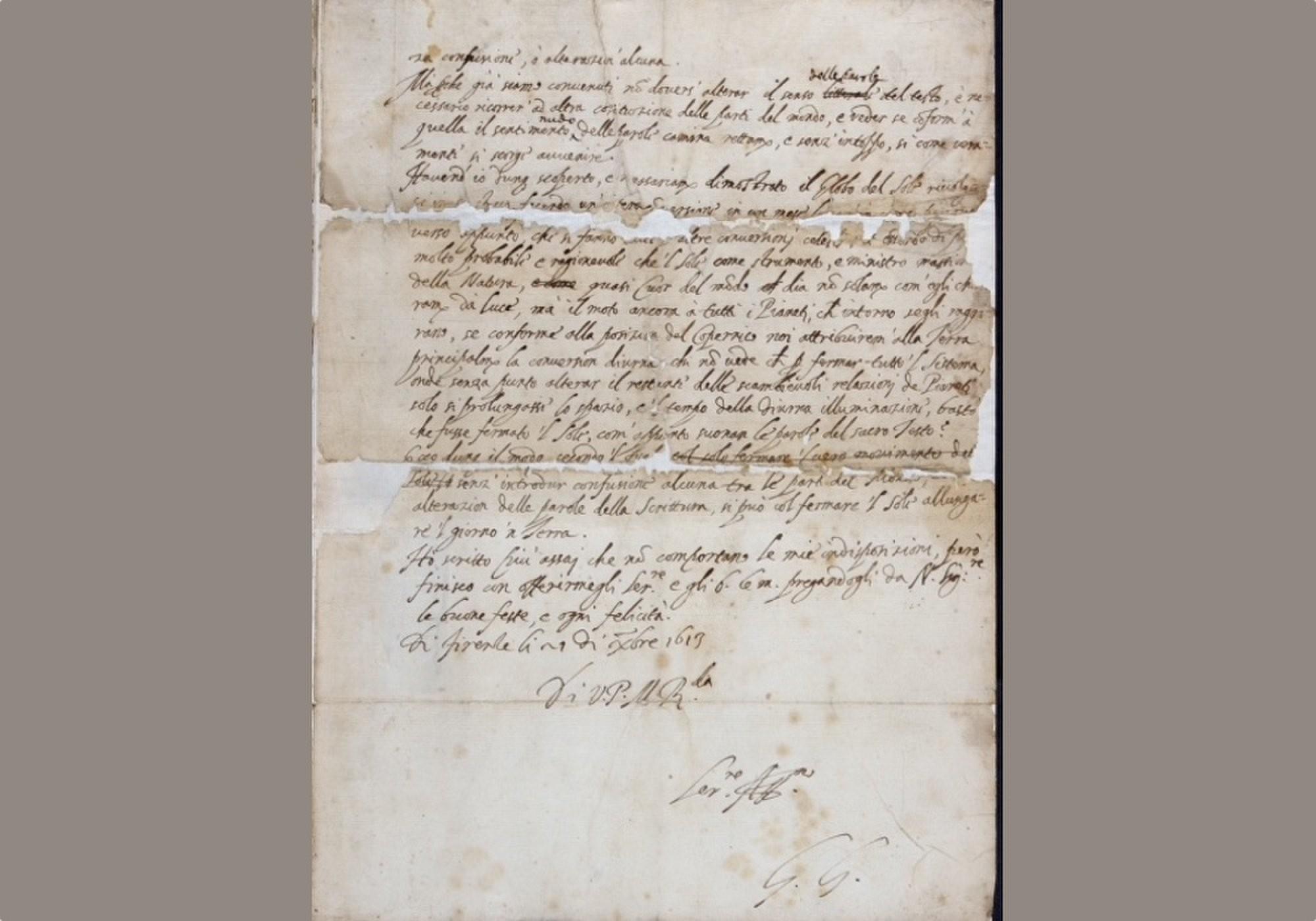 Carta original de Galileu Galilei (Foto: The Royal Society)