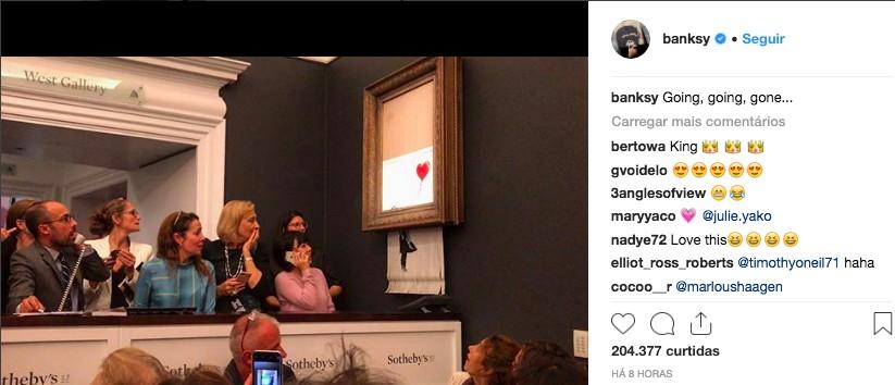 O post de Banksy, ironizando a venda milionária de sua arte de rua (Foto: Reprodução / Instagram)