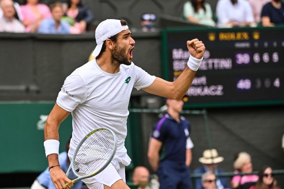 Berrettini é finalista em Wimbledon — Foto: TPN / Getty Images
