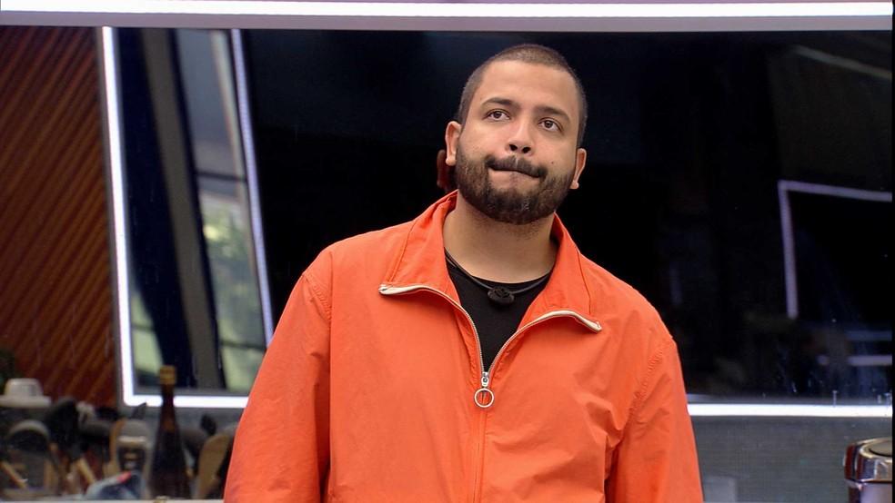 No Vip do BBB21, Projota comenta sobre brother: 'O Brasil tem que estar comigo nessa'  — Foto: Globo