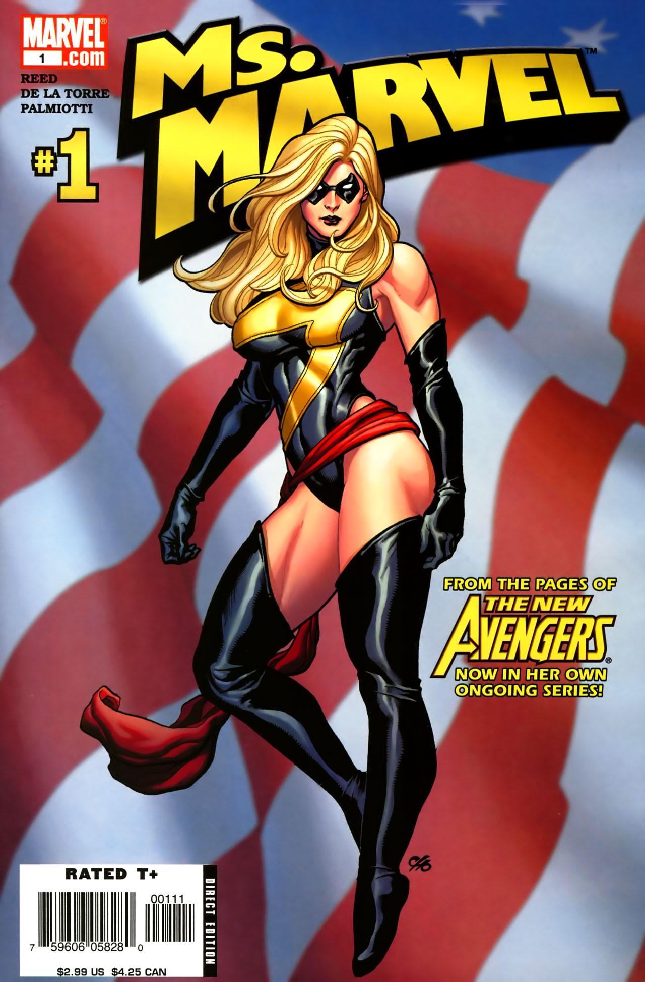 Depois de sofrer vários traumas, Carol usa o codinome Warbird e, em seguida, volta a ser a Ms. Marvel (Foto: Frank Cho/Marvel)