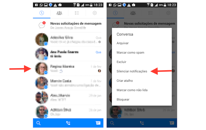 Tudo sobre o Facebook Messenger sobre as conversas - silenciar notificacoes