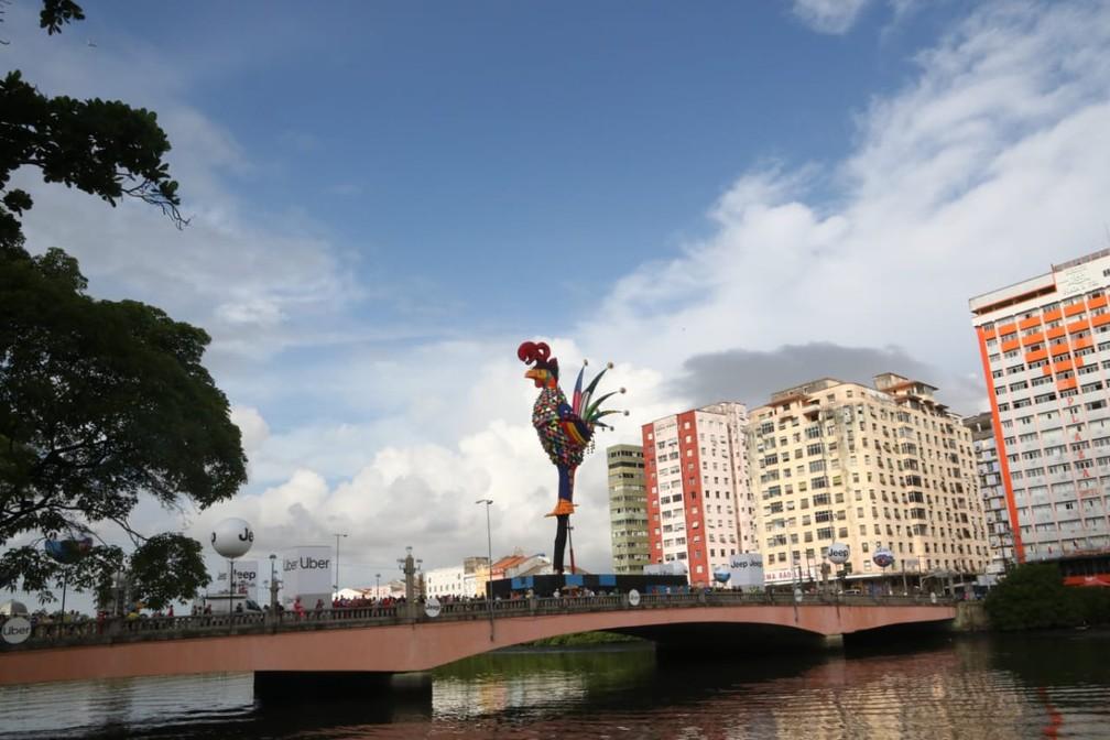 Alegoria Galo Gigante dá as boas vindas aos foliões que chegam ao Centro do Recifpara o desfile do Galo da Madrugada — Foto: Aldo Carneiro/Pernambuco Press