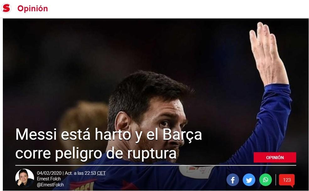 """Editorial do diretor do """"Sport"""": """"Messi está farto, e o Barça corre perigo de ruptura"""" — Foto: Reprodução/Sport"""