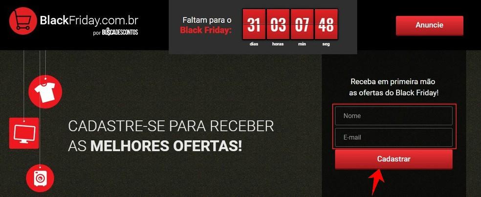 Site oficial da Black Friday no Brasil envia e-mails com ofertas especiais antes do evento — Foto: Reprodução/Rodrigo Fernandes