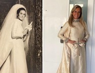 Helô Pinheiro usa mesmo vestido de noiva 55 anos após o seu casamento