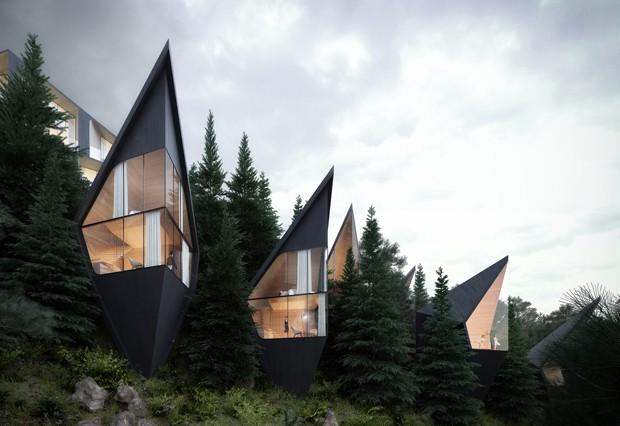 Arquitetos criam casas de árvore com telhados agudos
