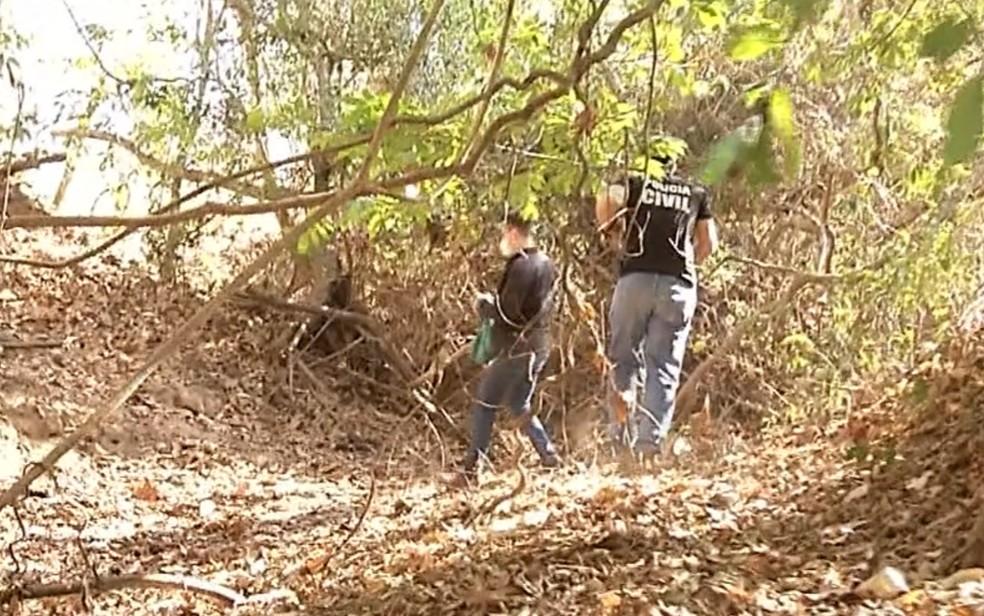 Polícia Civil faz buscas pelo corpo de Vanessa Rodrigues, desaparecida em Porangatu — Foto: Reprodução/TV Anhanguera