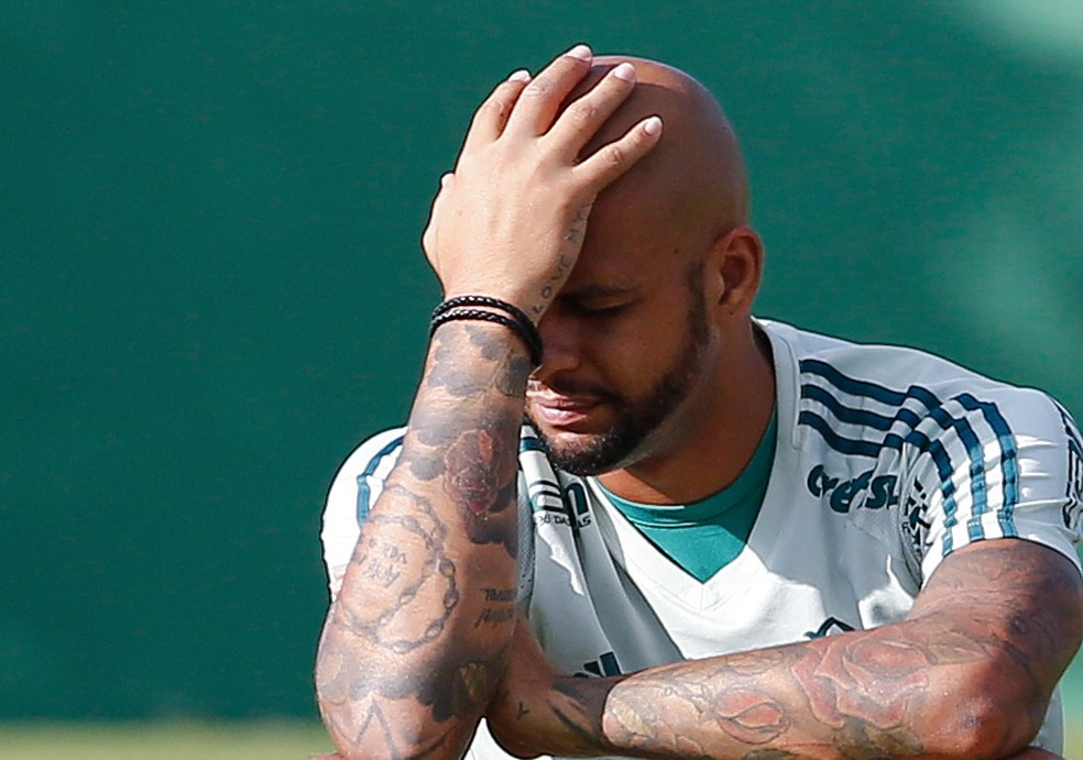Felipe Melo em treino do Palmeiras (Foto: Estadão Conteúdo)