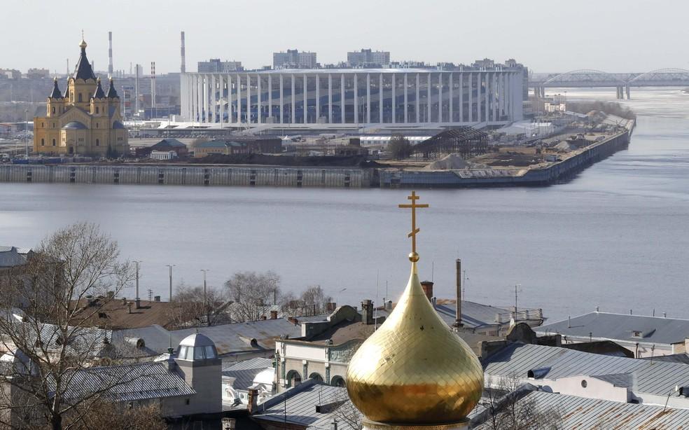 Vista externa da Arena de Nizhny Novgorod (Foto: Reuters)