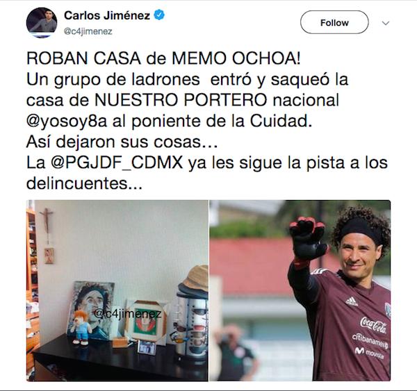 O tuíte do jornalista mexicano Carlos Jiménez noticiando o crime ocorrido na casa do goleiro da seleção do México, Ochoa (Foto: Twitter)