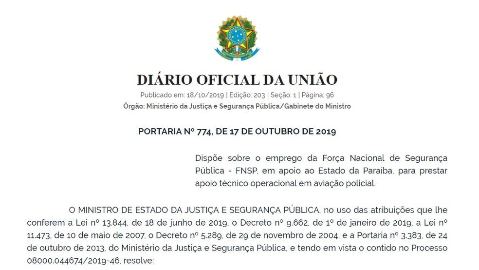 Decisão foi publicada no Diário Oficial da União desta sexta-feira (18) — Foto: Reprodução/DOU