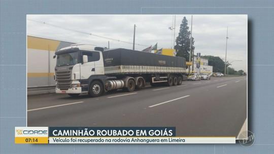 Caminhão roubado em Goiás é recuperado em rodovia de Limeira e homem vai preso por receptação