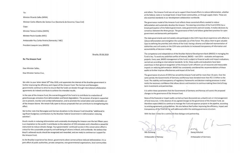 Íntegra da carta da Noruega e Alemanha, em inglês, ao ministro do Meio Ambiente, Ricardo Salles, e ao ministro da Secretaria de Governo, o general Santos Cruz — Foto: Reprodução/Blog do André Trigueiro/G1