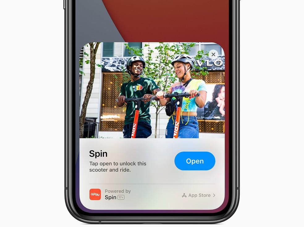 App Clips, nova função do iOS, vai permitir acessar recursos de aplicativos sem necessariamente baixar o app. — Foto: Divulgação/Apple