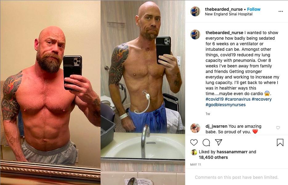 O post do enfermeiro Mike Schultz sobre sua saúde após ser diagnosticado com COVID-19 (Foto: Instagram)