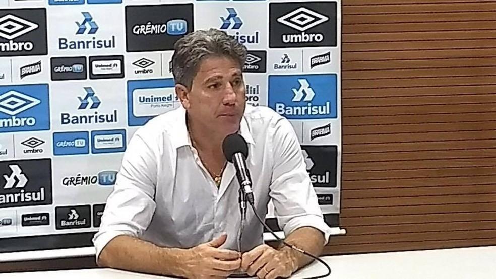 Renato Gaúcho na entrevista coletiva no Maracanã (Foto: Felipe Siqueira / GloboEsporte.com)